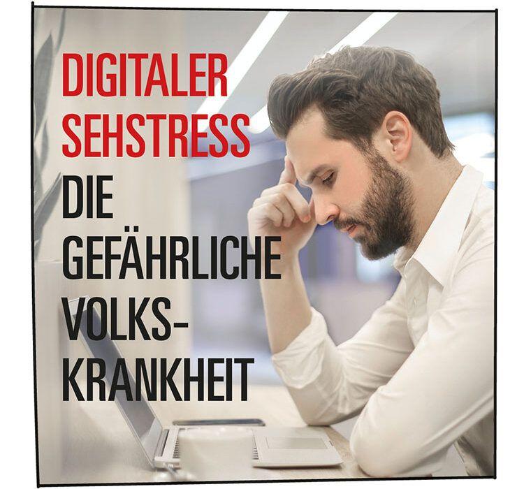 Augenkrankheit: Mann fühlt sich am Laptop gestresst