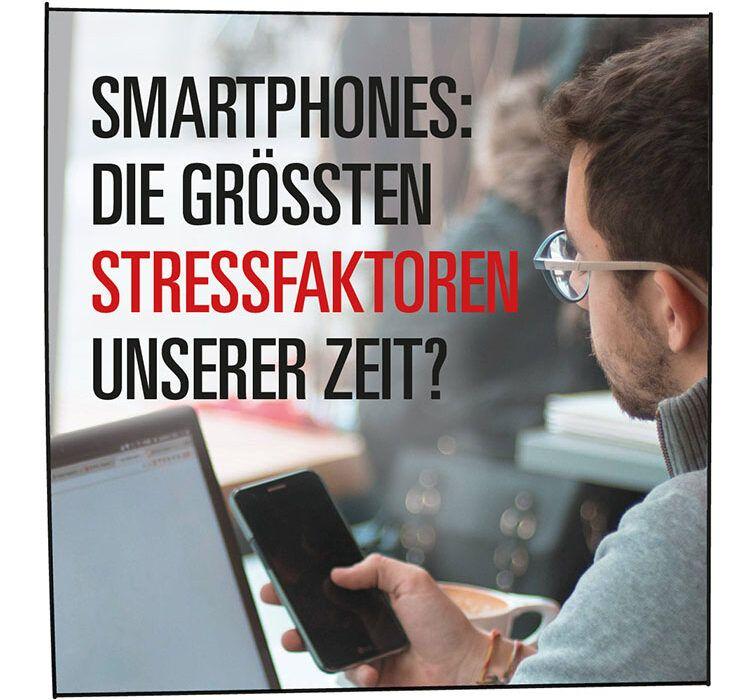 Stressfaktor: Mann hält ein Smartphone in der Hand